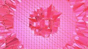 Poli superficie d'ondeggiamento bassa ottimistica o rosa come fondo psichedelico Ambiente di vibrazione geometrico poligonale ros illustrazione di stock