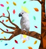 Poli uccello variopinto basso della cacatua con l'albero su terra posteriore, uccelli sui rami, concetto geometrico animale, vett illustrazione vettoriale