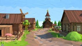 Poli villaggio basso isometrico, rappresentazione 3D Immagini Stock Libere da Diritti