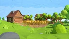 Poli villaggio basso isometrico, rappresentazione 3D Fotografia Stock