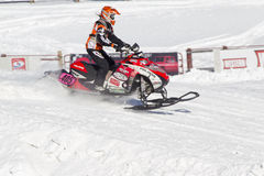 Poliaris #405 Snowmobile Racing. EAGLE RIVER, WI - MARCH 2:  Poliaris #405 Snowmobile Racing during a race on March 2, 2013 in Eagle River, Wisconsin Stock Photography