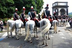 Policía a caballo por doscientos años Fotos de archivo libres de regalías