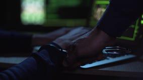Policía cibernética que coge y que arresta al pirata informático durante la ciberdelincuencia que confía, justicia almacen de video
