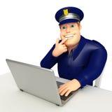 Policía con el ordenador portátil Fotos de archivo