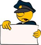 Policía con la tarjeta vacía Imagenes de archivo