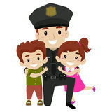 Policía con los niños ilustración del vector