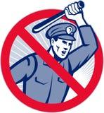 Policía de la brutalidad de policía con el bastón Foto de archivo libre de regalías