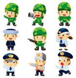 Policía de la historieta e icono del soldado Foto de archivo libre de regalías