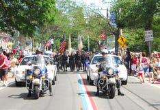 Policía de la motocicleta de Bristol, Rhode Island Imágenes de archivo libres de regalías