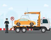 Policía de tráfico que escribe una multa de aparcamiento al coche en estacionamiento prohibido libre illustration