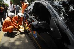POLICÍA DEL ESTACIONAMIENTO Imagen de archivo