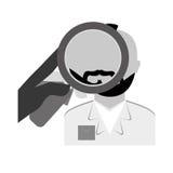 policía del grayscale que investiga el icono criminal ilustración del vector
