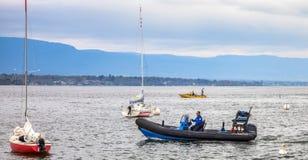 Policía del infante de marina de Ginebra del lago Imágenes de archivo libres de regalías