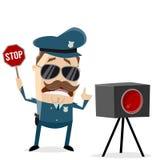 Policía divertido con la trampa de radar imagenes de archivo