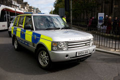 Policía en Edimburgo, primer día de visita del papa a Reino Unido Imagenes de archivo