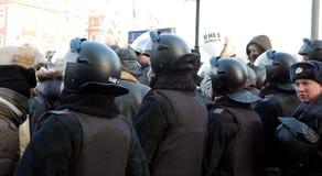 Policía en la reunión para las elecciones justas en Rusia Imágenes de archivo libres de regalías
