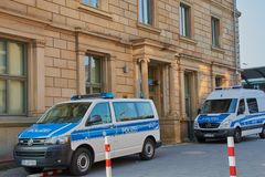 Policía federal en Maguncia, Alemania fotografía de archivo libre de regalías