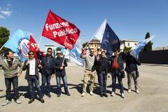 Policía italiana Demostration de la cárcel Imágenes de archivo libres de regalías