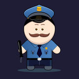 Policía lindo con la matraca ilustración del vector