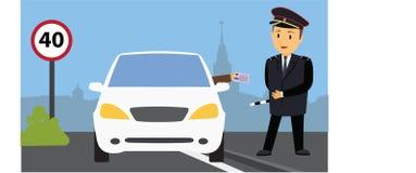 Policía que comprueba la licencia ilustración del vector