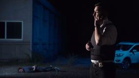 Policía que divulga sobre la detención almacen de video