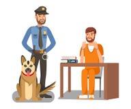 Policía que guarda el ejemplo criminal del vector stock de ilustración