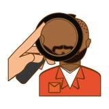 policía que investiga el icono criminal ilustración del vector