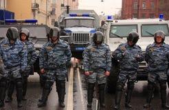 POLICÍA RUSA, PELOTÓN ESPECIAL (OMON) Imagen de archivo libre de regalías