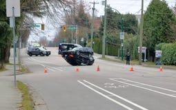 Policía y accidente de Vancouver Imagen de archivo