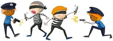 Policía y lucha criminal stock de ilustración