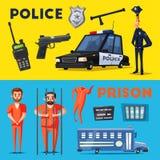 Policía y prisión Ilustración del vector de la historieta stock de ilustración