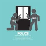 Policías en Front Of The Door Symbol Foto de archivo