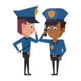 Polic?as que trabajan el personaje de dibujos animados del avatar libre illustration