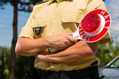 Policía - coche de la parada del policía o del poli Imagen de archivo libre de regalías