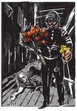 Policía con las flores, héroe apacible - a pulso, vector Foto de archivo libre de regalías