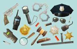 Policía, iconos de la seguridad fijados colección de elementos Foto de archivo libre de regalías