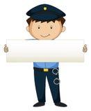 Policía que sostiene el papel en blanco Imagen de archivo libre de regalías