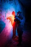 Policía/soldado antiterroristas de la unidad Imágenes de archivo libres de regalías