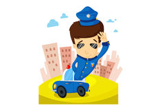 The Police. Illustration of police patrols a city in a police vehicle Royalty Free Stock Image