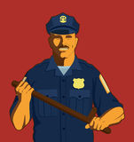 Police. Man holding a baton vector illustration