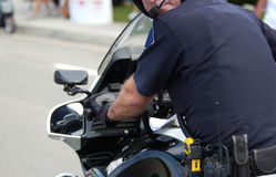Police. The back of a motorcycle police Stock Images