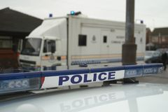 Police incident command unit, major incident. Police accident command unit, road closed due to ongoing incident, stop police stock images