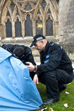 Police, accompanied by sniffer dogs Royalty Free Stock Images