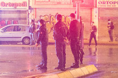 Police against the People in Istanbul. Clashes between the people and the police in Istanbul Stock Photos