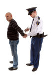 Police agent is making a arrest. Over white background Royalty Free Stock Photo