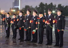 The police during the all-Russian Patriotic action `Tomorrow was the war` on Poklonnaya hill. MOSCOW, RUSSIA -JUNE 21, 2014:The police during the all-Russian royalty free stock photo