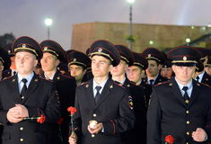 The police during the all-Russian Patriotic action `Tomorrow was the war` on Poklonnaya hill. MOSCOW, RUSSIA -JUNE 21, 2014:The police during the all-Russian royalty free stock photography