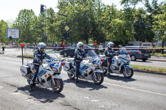 Police on amateur cycling event Marathon Franja Stock Images