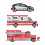 Police, Ambulance car and Fire truck Stock Photography