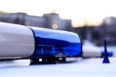 Police. Ambulance. flasher blue. close-up. there is toning. Police. Ambulance. flasher blue. close-up there is toning royalty free stock photos